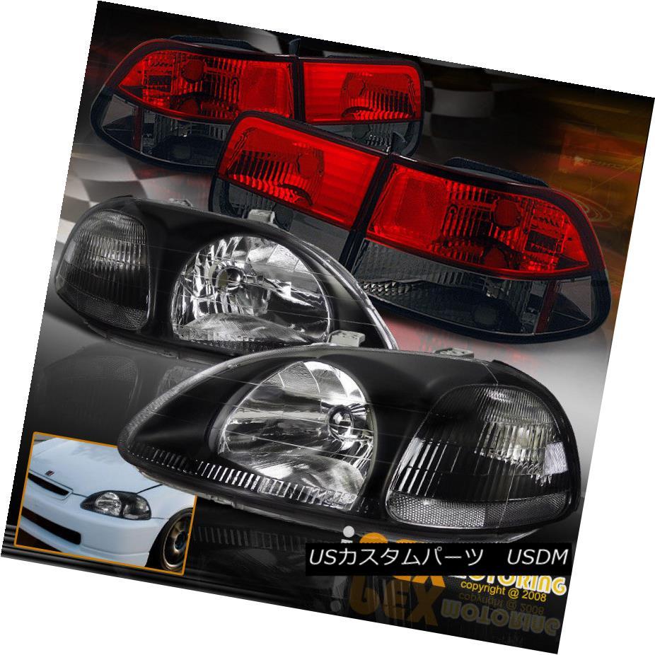 テールライト 1996-1998 Honda Civic 2Dr Coupe JDM Black Headlight W/ Euro Red Smoke Tail Light 1996-1998ホンダシビック2DrクーペJDMブラックヘッドライトW /ユーロレッド煙テールライト