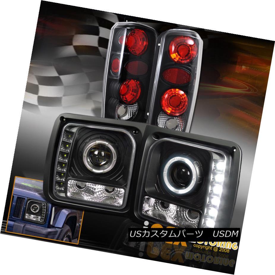 テールライト 1997-2001 Jeep Cherokee ULTRA Halos Projector LED Black Headlights + Tail Lights 1997-2001ジープチェロキーULTRA HalosプロジェクターLEDブラックヘッドライト+テールライト