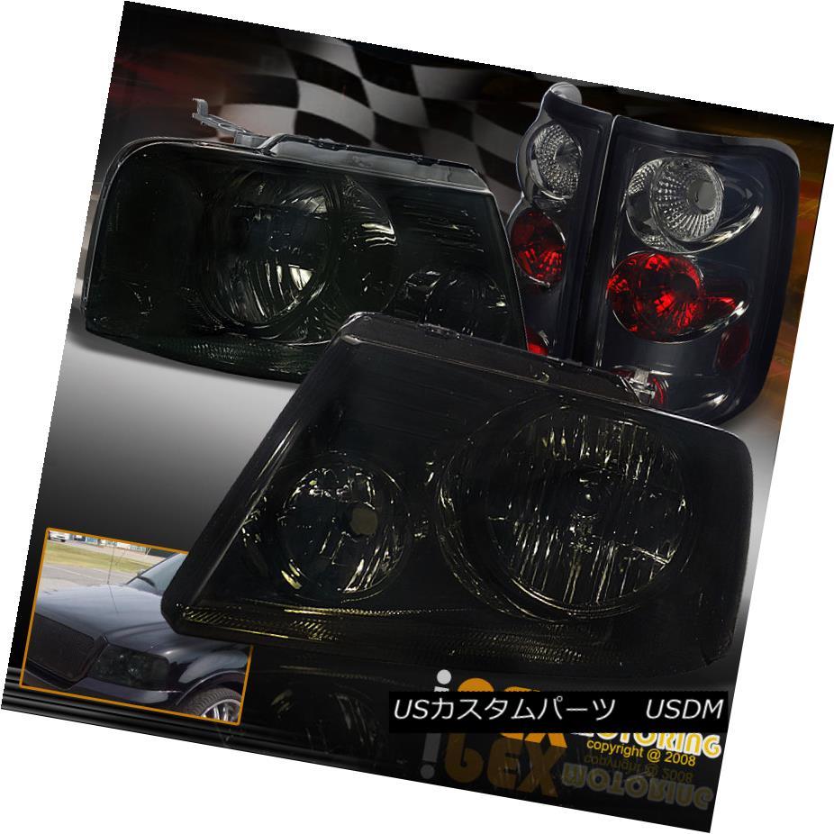 テールライト 2004-2008 Ford F150 F-150 BlackOut Smoke Headlights + Smoke Euro Tail Lights 2004-2008フォードF150 F-150ブラックアウトスモークヘッドライト+スモークユーロテールライト