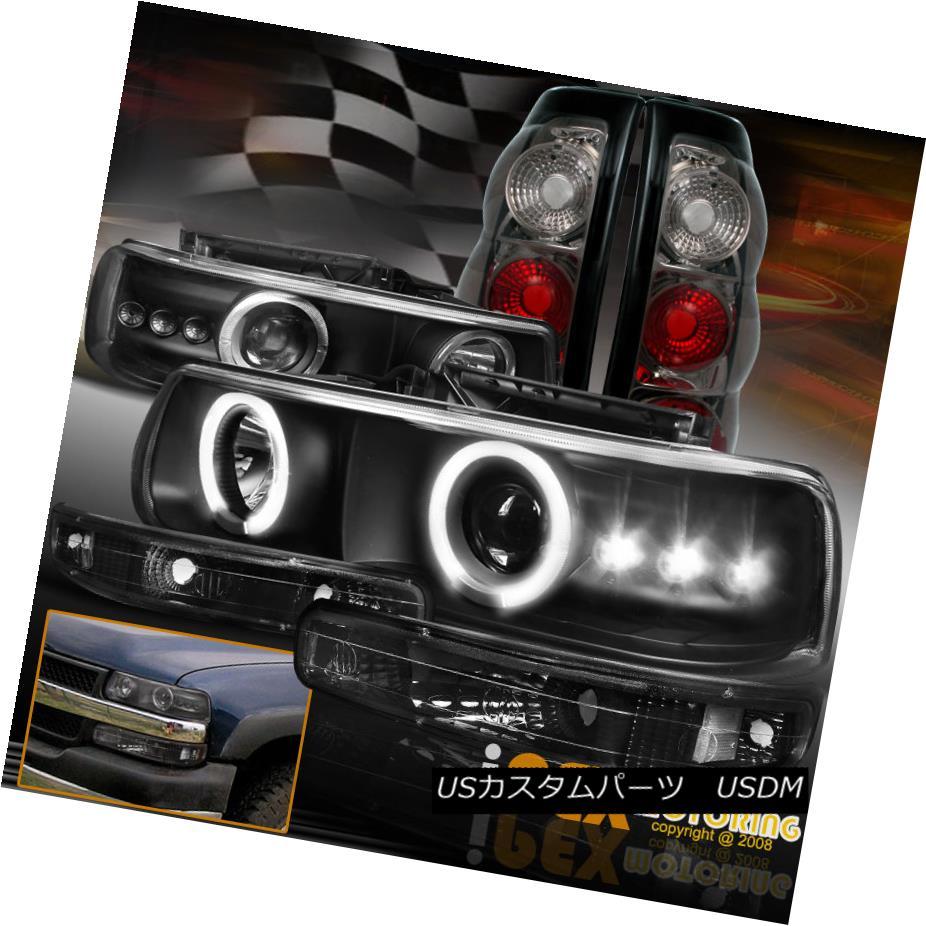 テールライト 1999-2002 Chevy Silverado Black Halo Projector LED Headlight + Smoke Tail Light 1999-2002シボレーシルバラードブラックハロープロジェクターLEDヘッドライト+煙テールライト