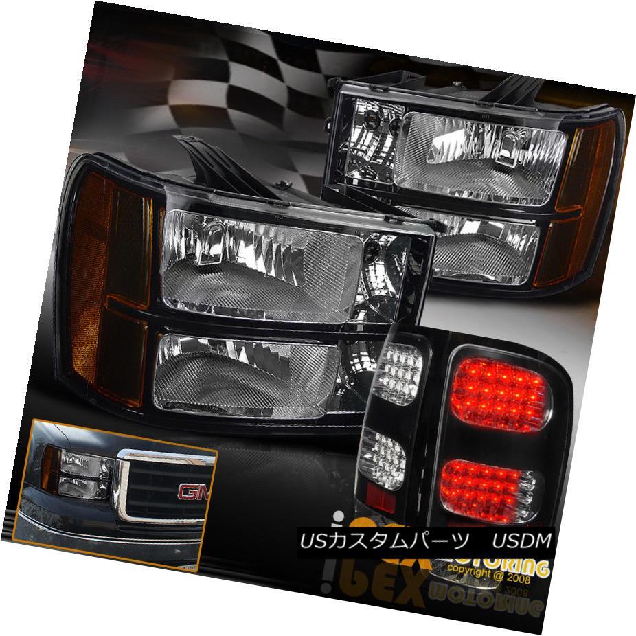 テールライト 2007-2014 GMC Sierra 1500 2500HD Gloss Black Shiny Headlights + LED Tail Lights 2007-2014 GMC Sierra 1500 2500HDグロスブラックシャイニーヘッドライト+ LEDテールライト
