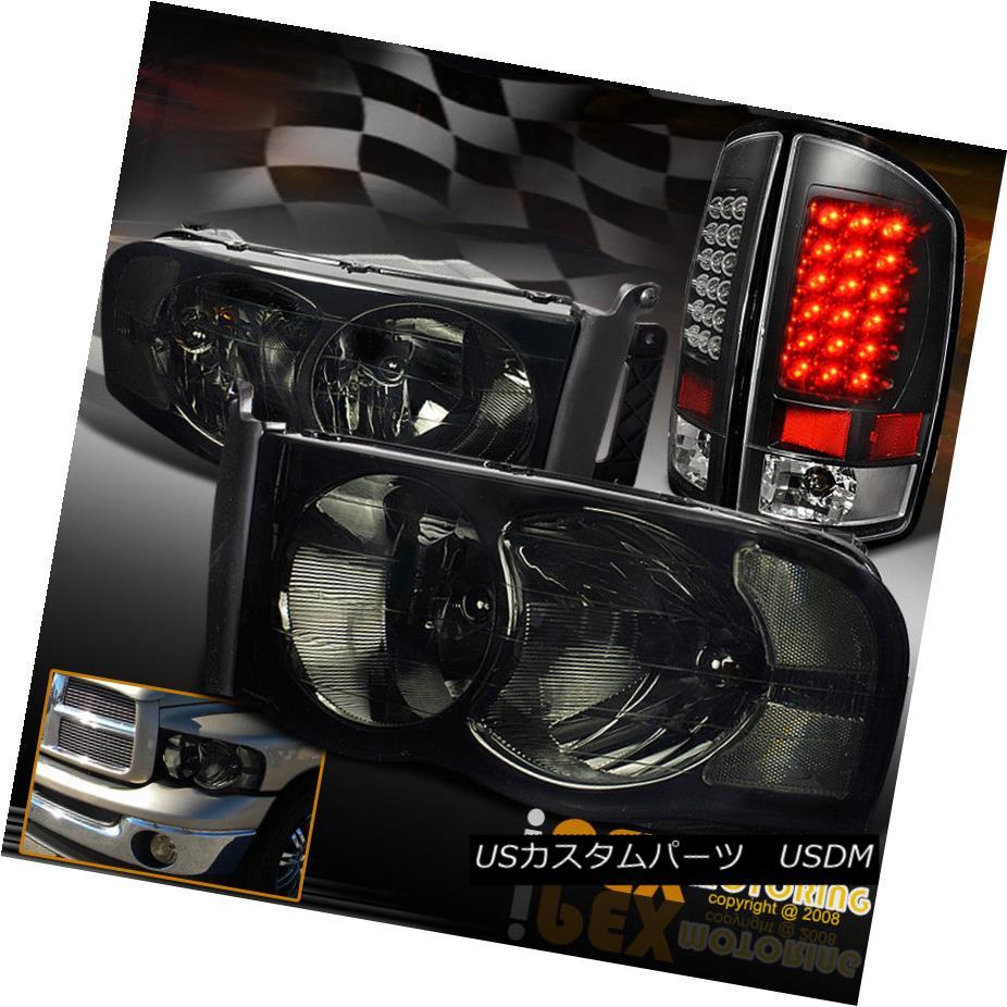 テールライト NEW 2002-2005 Dodge Ram 1500/2500/3500 Smoke Headlights + LED Black Tail Lights NEW 2002-2005 Dodge Ram 1500/2500/3500スモークヘッドライト+ LEDブラックテールライト