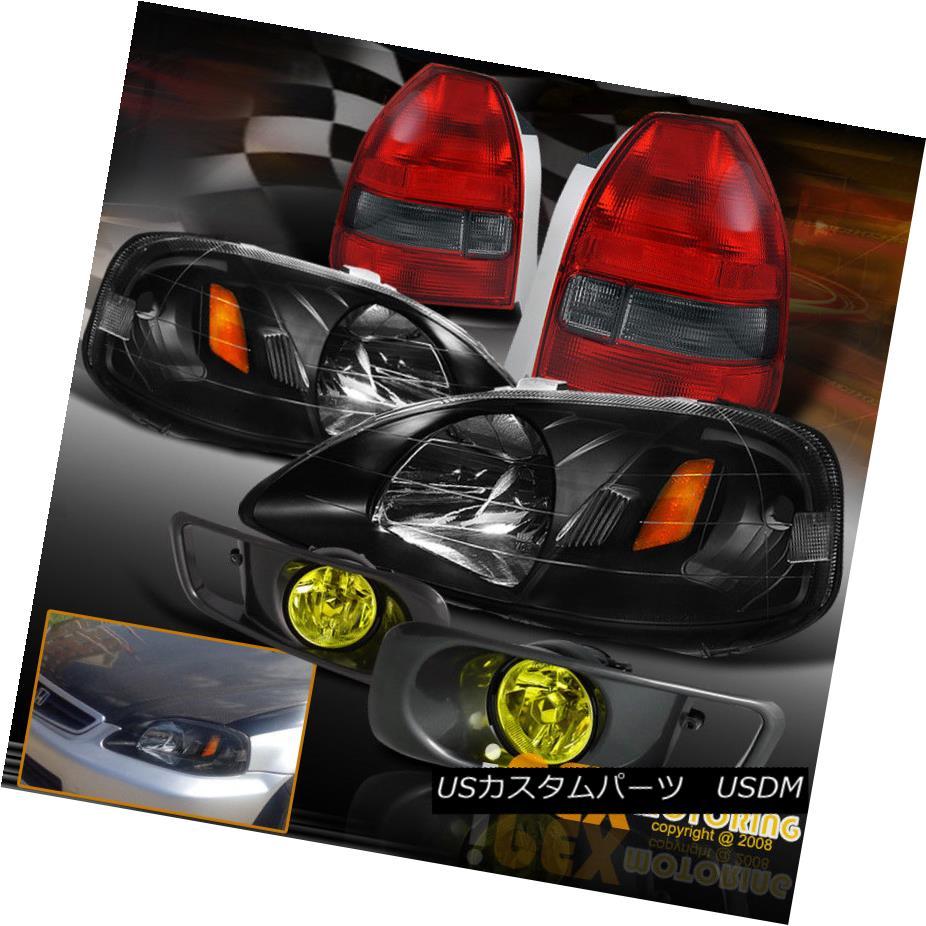 テールライト (HATCHBACK) 1999-2000 Honda Civic SMOKEY RED Tail Light+JDM Black Headlights+Fog (HATCHBACK)1999-2000 Honda Civic SMOKEY REDテールライト+ JDMブラックヘッドライト+フォグ