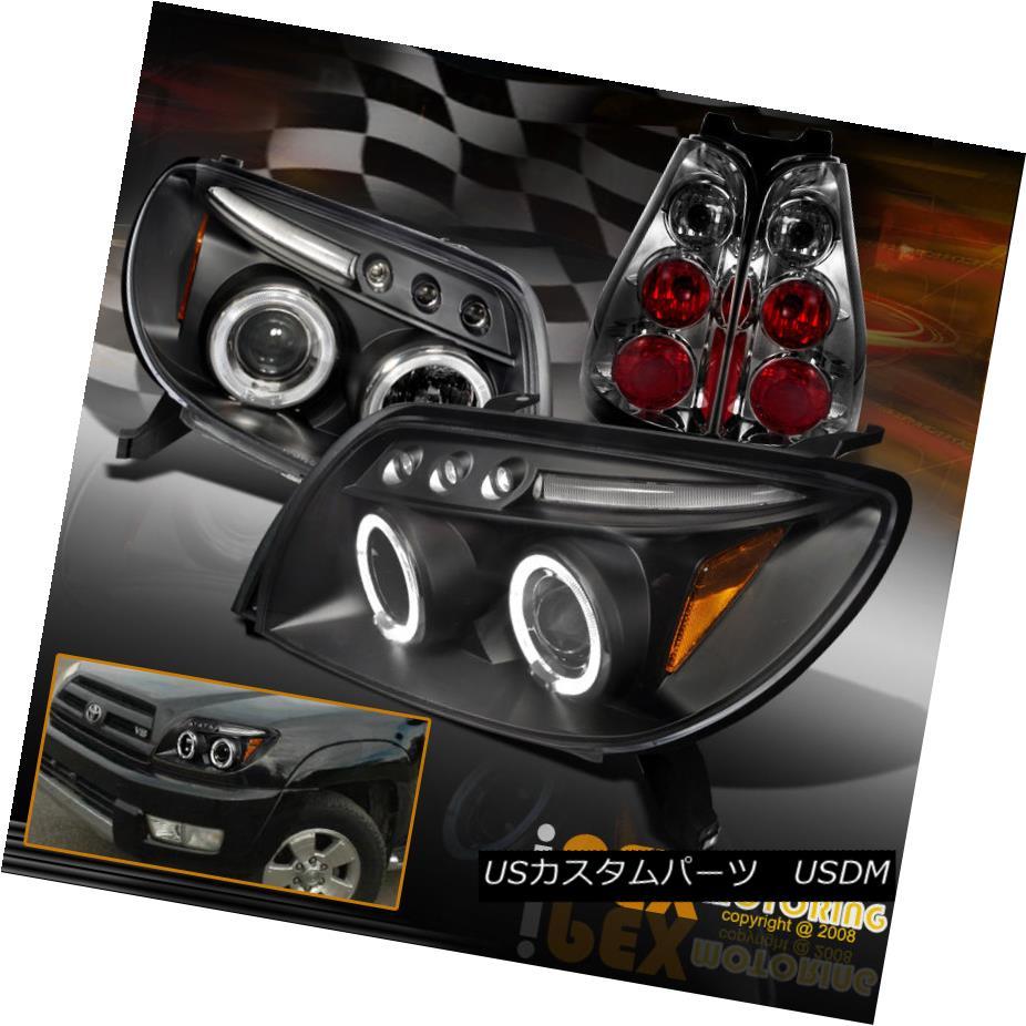 テールライト 2003-2005 Toyota 4Runner Halo Projector LED Black Headlights + Smoke Tail Light 2003-2005トヨタ4RunnerハロープロジェクターLEDブラックヘッドライト+煙テールライト