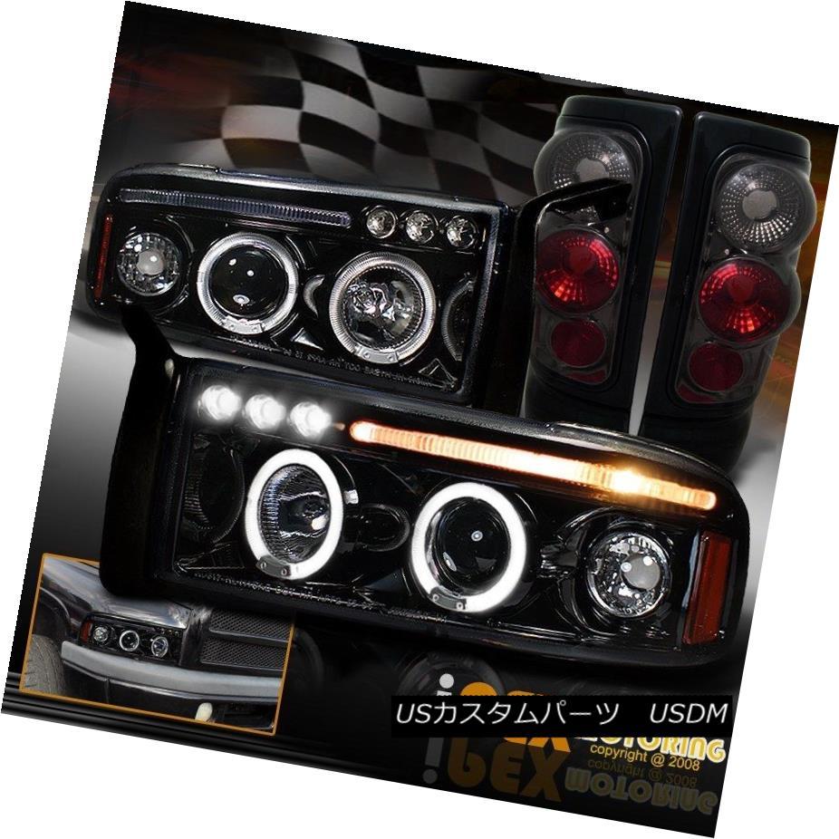 テールライト 1994-2001 Dodge Ram Halo Projector Black-Smoked LED Headlight + Smoke Tail Light 1994-2001ダッジラムハロープロジェクターブラックスモークLEDヘッドライト+スモークテールライト