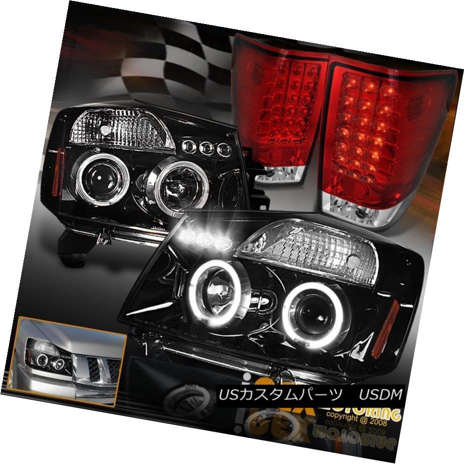 テールライト For 2004-2014 Nissan Titan Projector Shiny Black Headlight & LED Red Tail Lights 2004年?2014年日産タイタンプロジェクターシャイニーブラックヘッドライト& LEDレッドテールライト