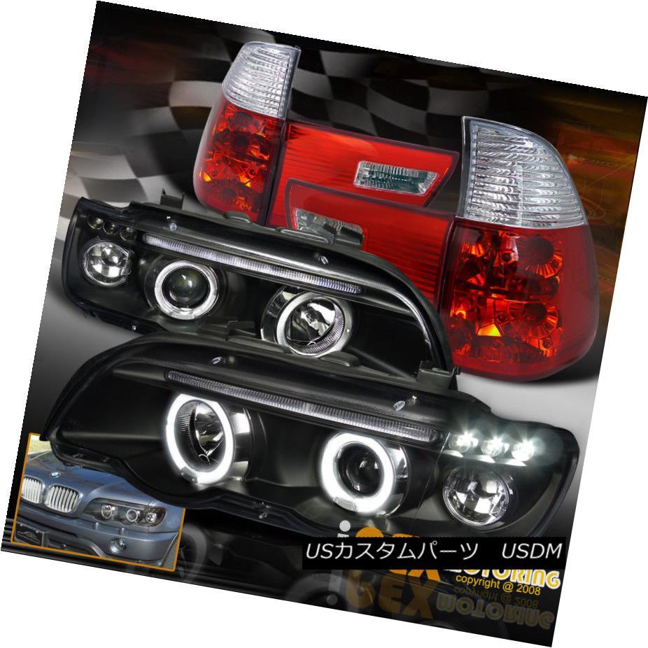 テールライト 2000-2003 BMW X5 E53 Halo Projector LED Black Headlights + EURO Red Tail Lights 2000-2003 BMW X5 E53ハロープロジェクターLEDブラックヘッドライト+ユーロレッドテールライト