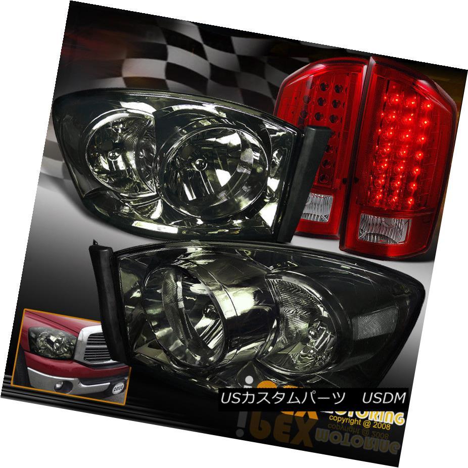 テールライト 2007-2008 Dodge Ram 1500/2500 Smoke Headlights W/ Limited LED Red Tail Light 2007-2008 Dodge Ram 1500/2500スモークヘッドライトW / Limited LEDレッドテールライト