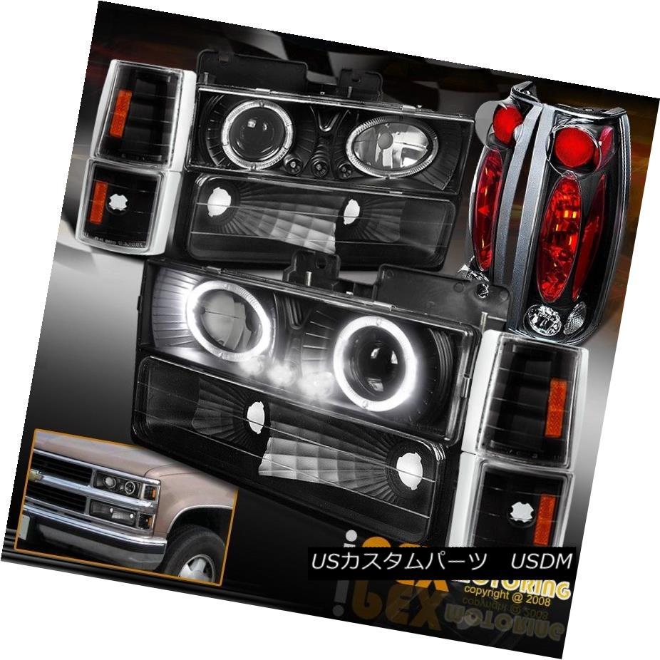 テールライト 94-98 GMC Sierra Suburban Yukon Halos Projector LED Black Headlight + Tail Light 94-98 GMCシエラ郊外ユーコンハローズプロジェクターLEDブラックヘッドライト+テールライト