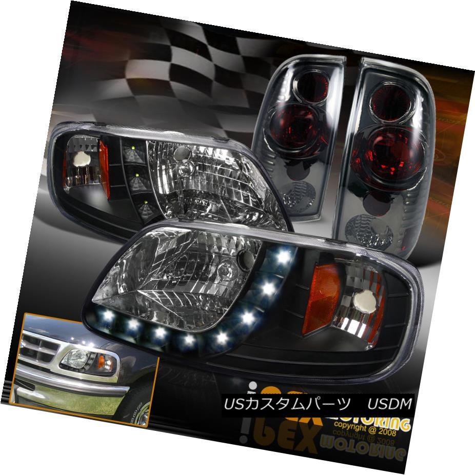 テールライト 1997-2003 Ford F150 Black (COMPLETE 4PIECE) LED Headlights + Smoke Tail Lights 1997-2003フォードF150ブラック(完全4ピース)LEDヘッドライト+煙テールライト