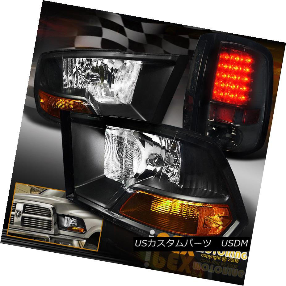 テールライト NEW 2009-2016 Dodge RAM 1500 2500 3500 Black Headlights + LED Smoke Tail Light NEW 2009-2016 Dodge RAM 1500 2500 3500ブラックヘッドライト+ LEDスモークテールライト