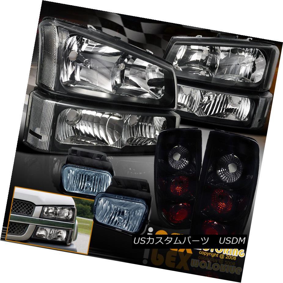 テールライト 03-06 Chevy Silverado 1500 2500 Headlight+Jet Black Tail Light + Fog+Signal Lamp 03-06 Chevy Silverado 1500 2500ヘッドライト+ジェットブラックテールライト+フォグ+シグナルランプ