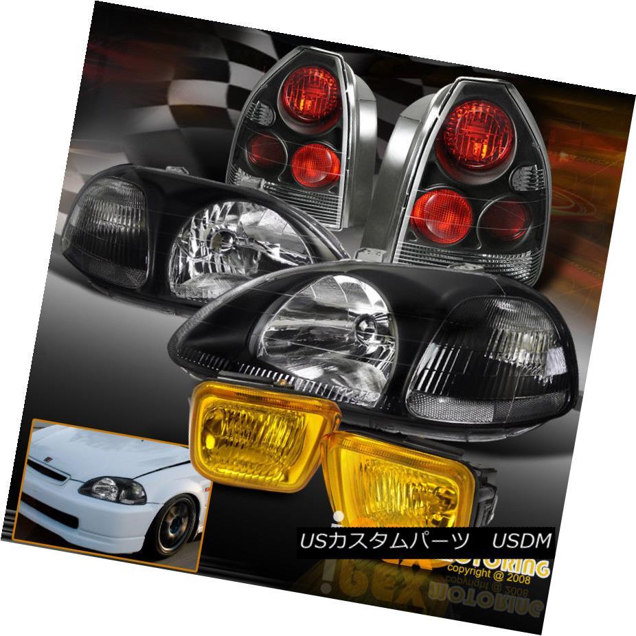 テールライト 1996-1998 Honda Civic 3Dr Hatchback JDM Black Headlight+Tail Light+Yellow Fog 1996-1998ホンダシビック3DrハッチバックJDMブラックヘッドライト+テールライト+イエローフォグ