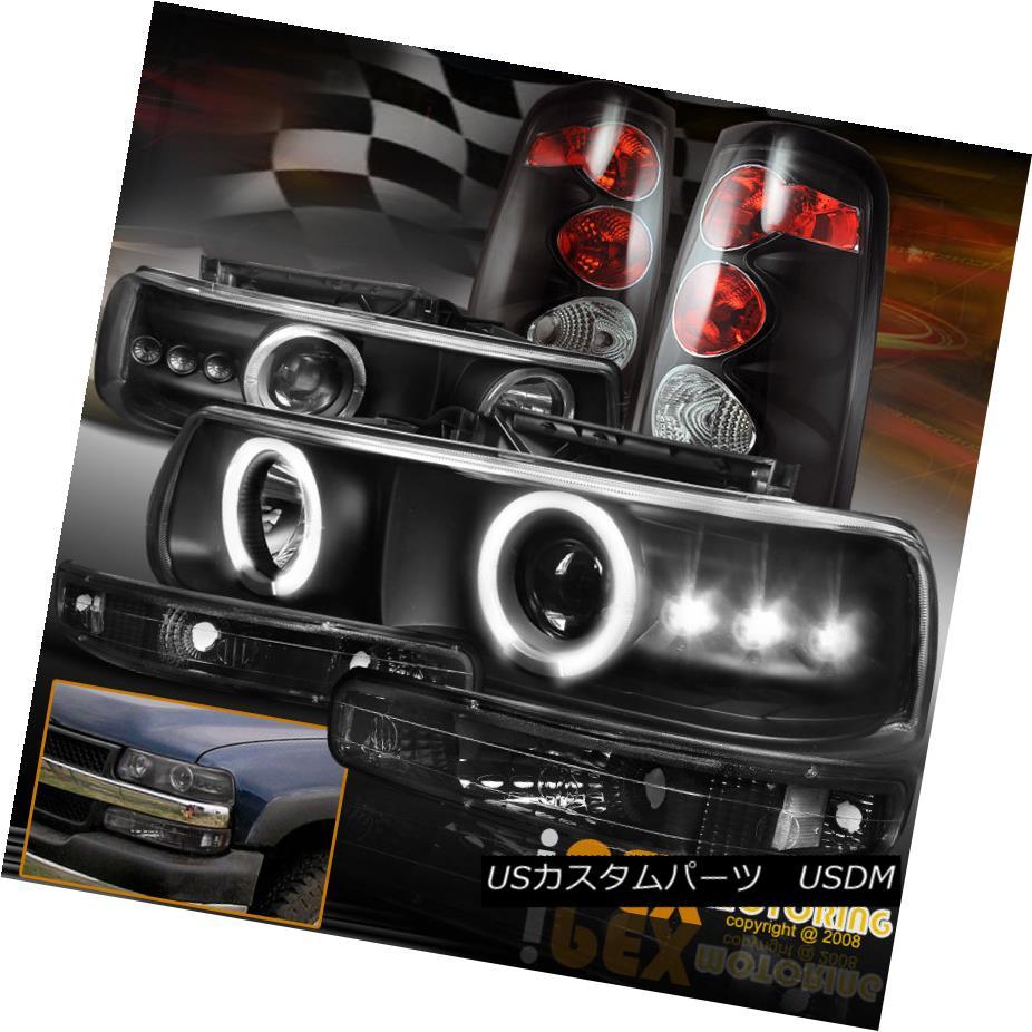 テールライト 1999-2002 Chevy Silverado Glow Halo Projector LED Headlights + Black Tail Lights 1999-2002シボレーシルバラードグローハロープロジェクターLEDヘッドライト+ブラックテールライト