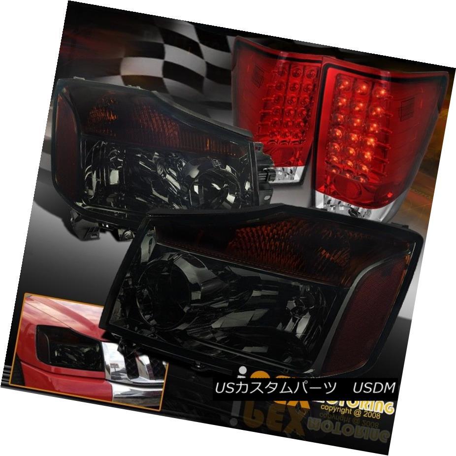 テールライト For 2004-2014 Nissan Titan 4WD 4X4 Dark Smoke Headlights+Full LED Red Tail Light 2004年?2014年Nissan Titan 4WD 4X4ダークグレーヘッドライト+フル l LEDレッドテールライト