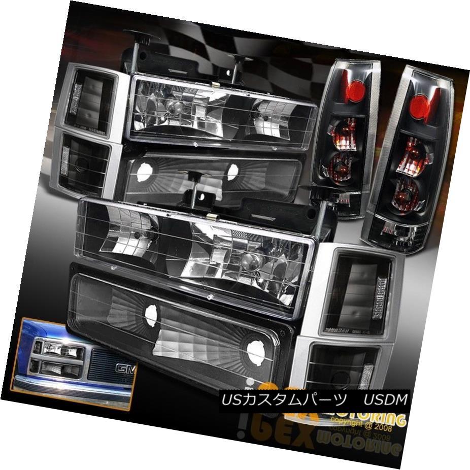テールライト 1994-1998 Chevy Sierra Yukon [10PC Black] Headlights + Euro Tail Lights + Bulb 1994-1998 Chevy Sierra Yukon [10PCブラック]ヘッドライト+ユーロテールライト+電球