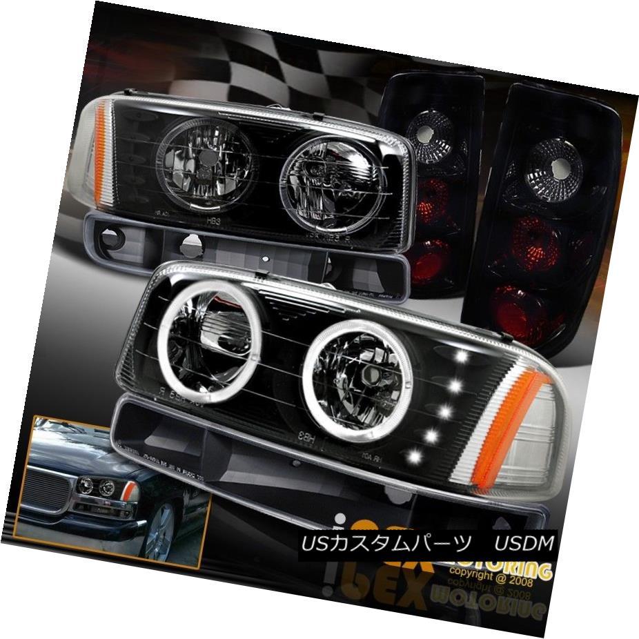 テールライト 04-06 GMC Sierra Halo LED Black Headlights + Dark Smoke Tail Light + Signal Lamp 04-06 GMC Sierra Halo LEDブラックヘッドライト+ダークスモークテールライト+シグナルランプ