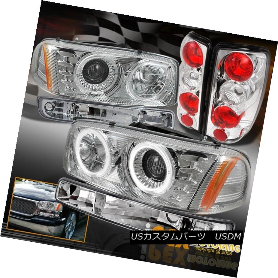 テールライト 2000-2006 GMC Yukon XL ~Chrome Set~ LED Halo Projector Headlight W/ Tail Lamps 2000-2006 GMC Yukon XL?クロムセット?LEDハロープロジェクターヘッドライトW /テールランプ