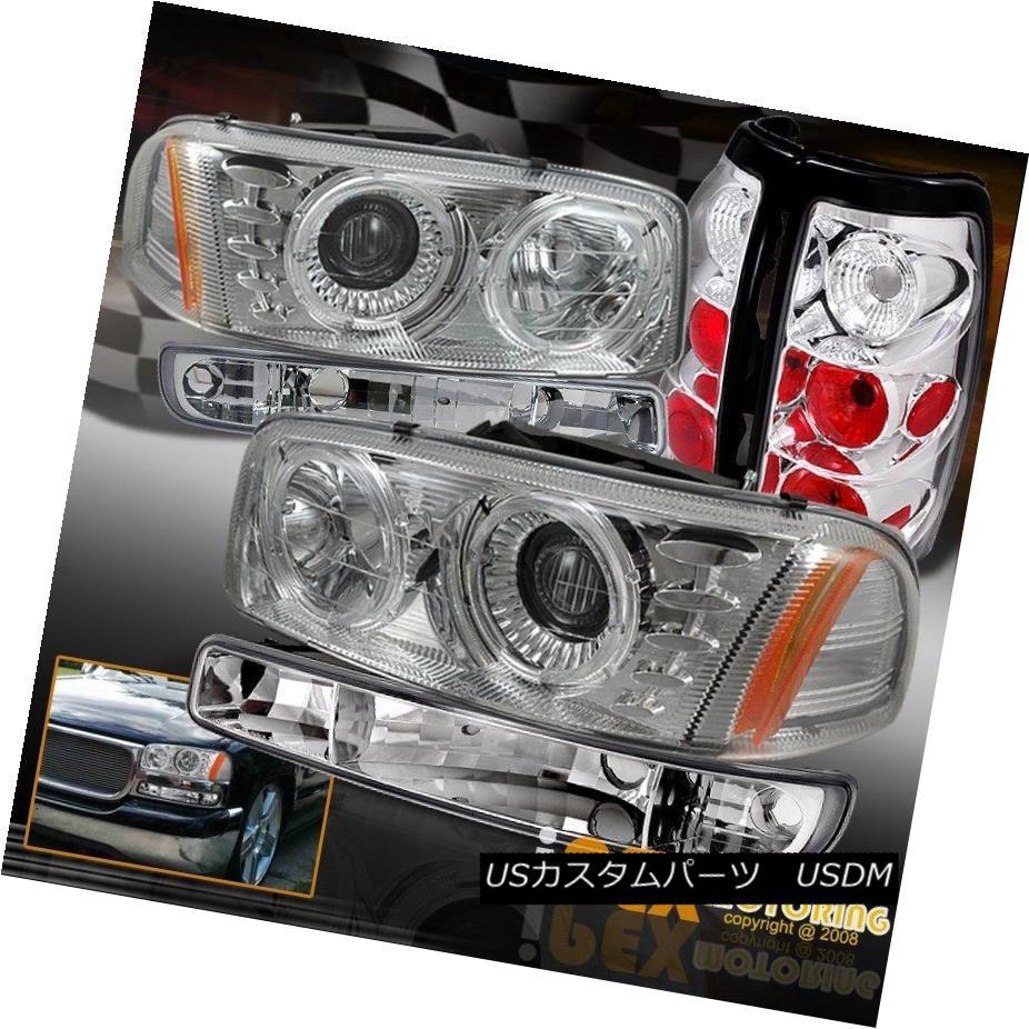 テールライト 1999-2003 GMC Sierra Dual Halos Projector Chrome Headlights+Signal+Tail Lights 1999-2003 GMC Sierraデュアルハロープロジェクタークロームヘッドライト+ Sig nal +テールライト