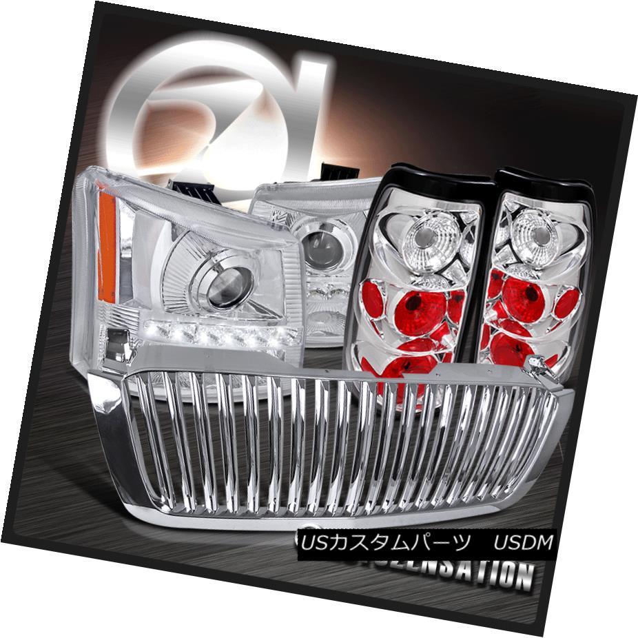 テールライト 03-05 Silverado Chrome Projector SMD LED DRL Headlights+Bumper+Tail Light+Grille 03-05 Silverado ChromeプロジェクターSMD LED DRLヘッドライト+ブーム +テールライト+グリル