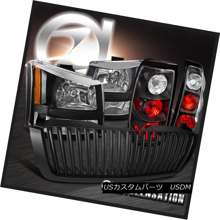テールライト 03-05 Chevy Silverado 1PC Black Headlight Bumper Tail Lamp+Vertical Hood Grille 03-05 Chevy Silverado 1PCブラックヘッドライトバンパーテールランプ+垂直フードグリル