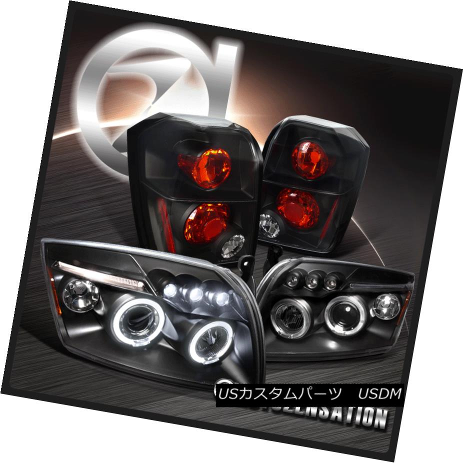 テールライト 07-12 Caliber Black LED Dual Halo Projector Headlights+Rear Tail Brake Lamps 07-12キャリバーブラックLEDデュアルハロープロジェクターヘッドライト+リア rテールブレーキランプ