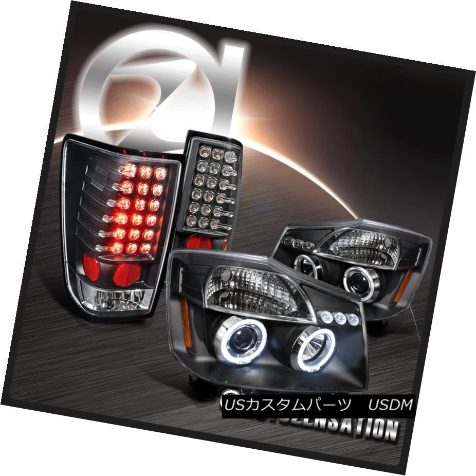 テールライト For 2004-2013 Nissan Titan Black Halo LED Projector Headlights+LED Tail Lamps 日産タイタンブラックハローLEDプロジェクターヘッドライト+ LEDテールランプ