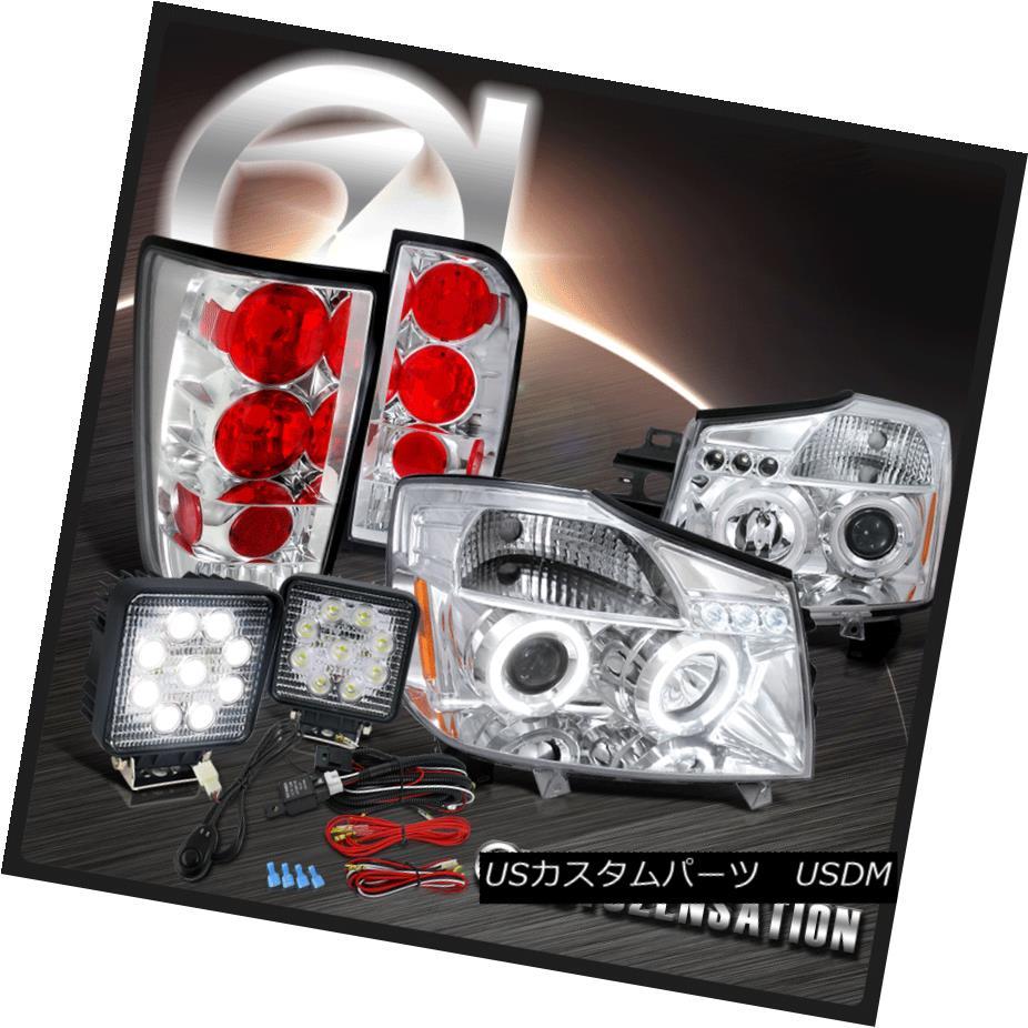 テールライト For 04-13 Titan Chrome Halo Projector Headlights+Tail Lamps+9-Led Work Lights 04-13タイタンクロームハロープロジェクターヘッドライト+タイ lランプ+ 9-ライト作業灯