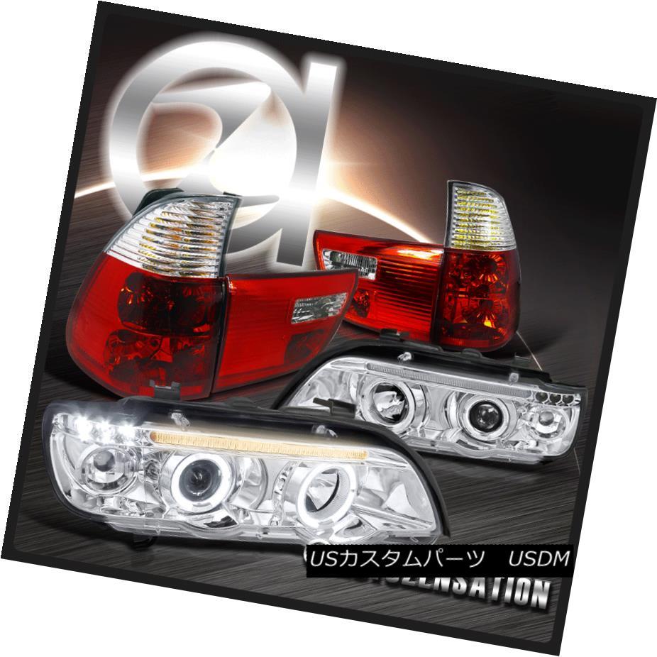 テールライト 01-03 BMW E35 X5 Chrome LED Halo Projector Headlights+Red Clear Tail Lamps 01-03 BMW E35 X5クロームLEDハロープロジェクターヘッドライト+レッドクリアテールランプ