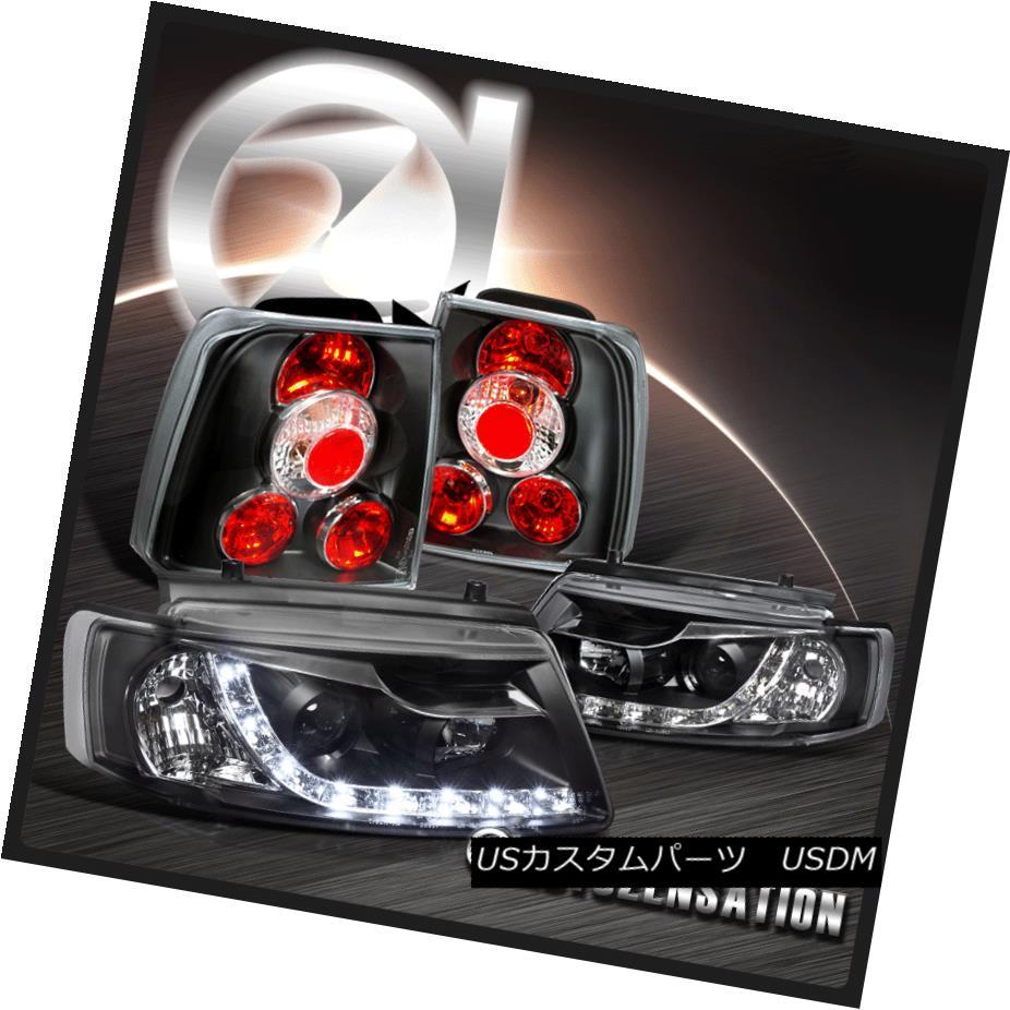 テールライト For 98-00 VW Passat R8 LED DRL Projector Headlights+Tail Brake Lamps Black 98-00 VWパサートR8 LED DRLプロジェクターヘッドライト+タイ lブレーキランプ黒