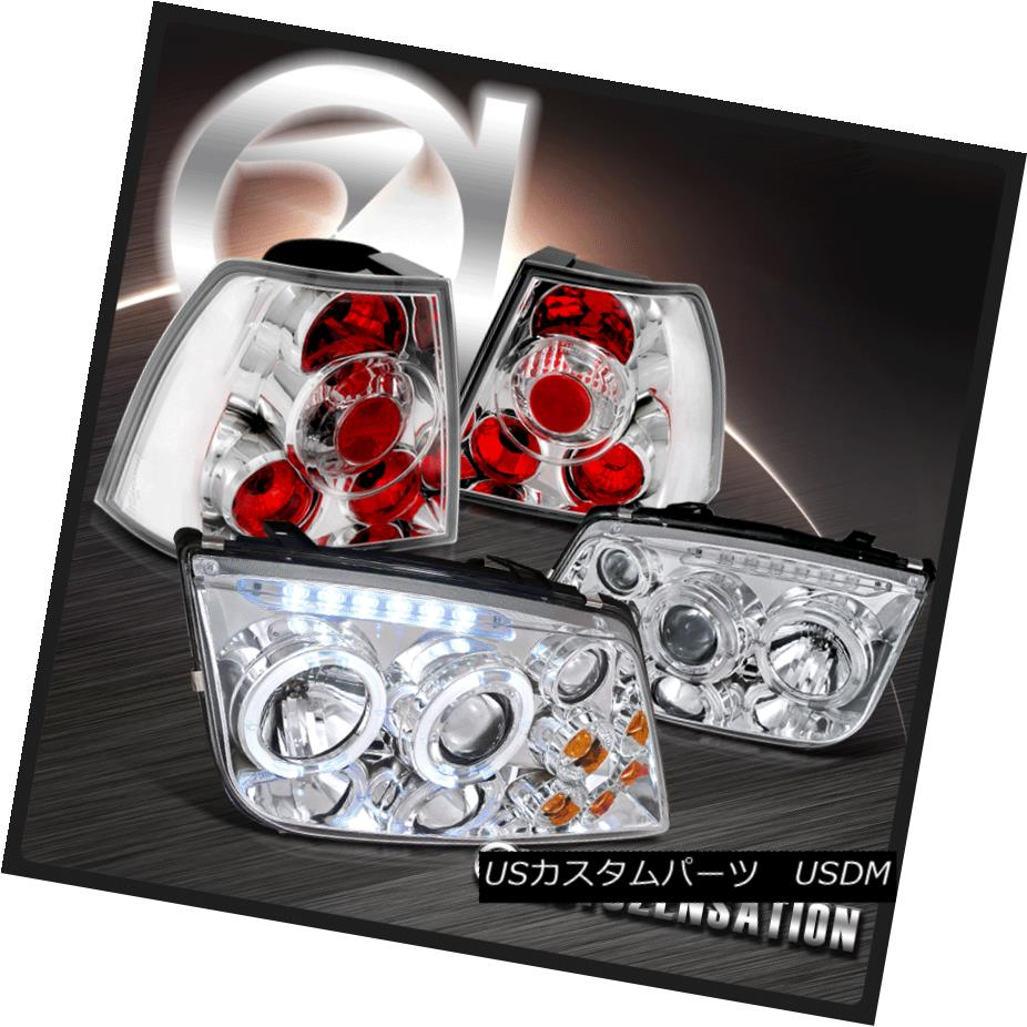 テールライト For 99-05 Jetta Bora MK4 Chrome Halo LED Projector Headlights w/ Fog+Tail Lamps 99-05用Jetta Bora MK4クロームハローLEDプロジェクターヘッドライト(フォグ+テールランプ付き)