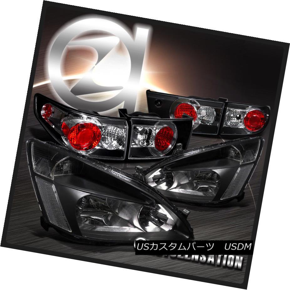 テールライト Fit Honda 03-05 Accord 4DR Crystal Black Headlights+Black Rear Tail Lamps フィットホンダ03-05アコード4DRクリスタルブラックヘッドライト+ Bla ckリアテールランプ