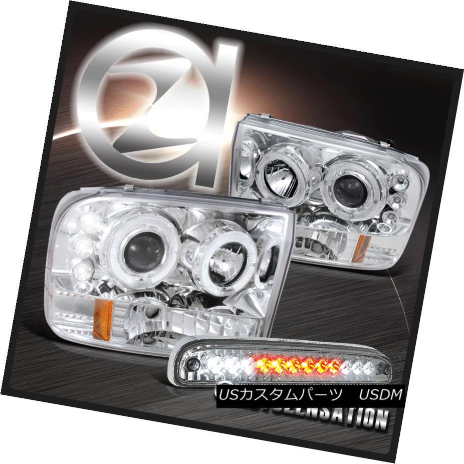 テールライト 99-04 F250 F350 F450 F550 Chrome Halo Projector Headlights+LED Third Brake Light 99-04 F250 F350 F450 F550クロームハロープロジェクターヘッドライト+ LED第3ブレーキライト