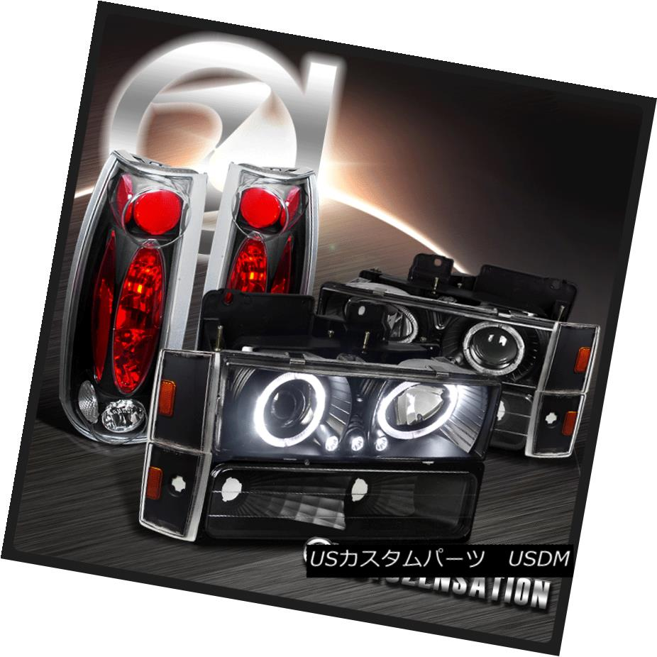 テールライト 88-93 Chevy GMC C/K Black LED Halo Projector Headlight+Corner Bumper Tail Lamps 88-93シボレーGMC C / KブラックLEDハロープロジェクターヘッドライト+コーン erバンパーテールランプ