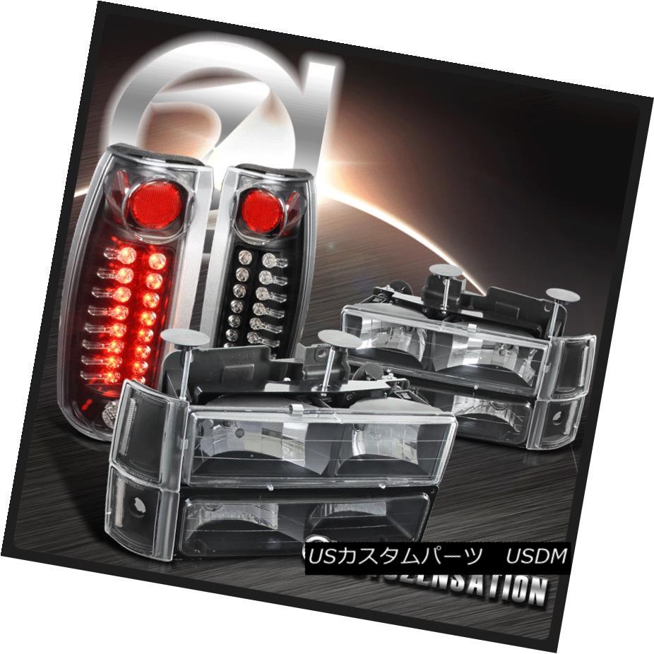 テールライト 1994-1998 GMC Sierra Black Clear Headlights+Bumper Corner Lamps+LED Tail Lights 1994-1998 GMC Sierra Blackクリアヘッドライト+ Bum /コーナーランプ+ LEDテールライト