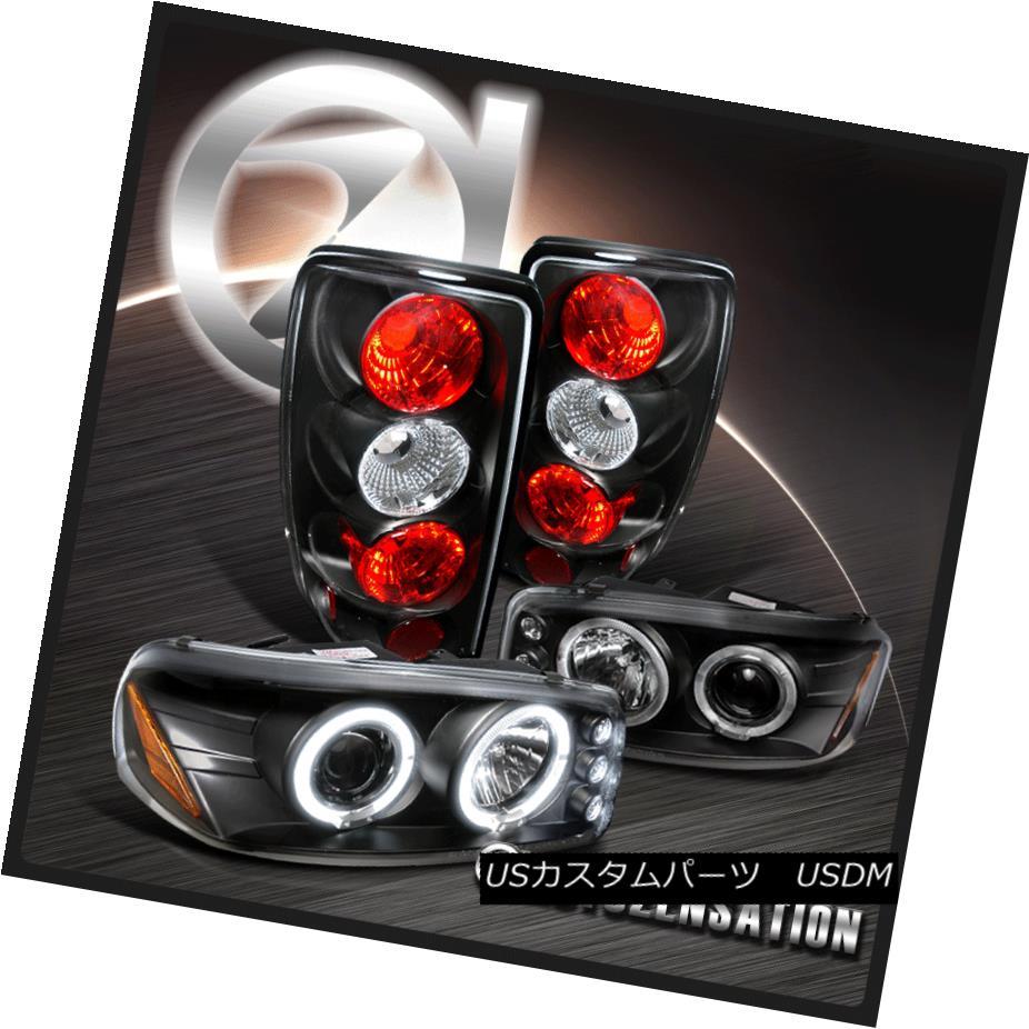 テールライト 00-06 GMC Yukon Black Halo LED Projector Headlights+Tail Lamps 00-06 GMC Yukon Black Halo LEDプロジェクターヘッドライト+タイ lランプ