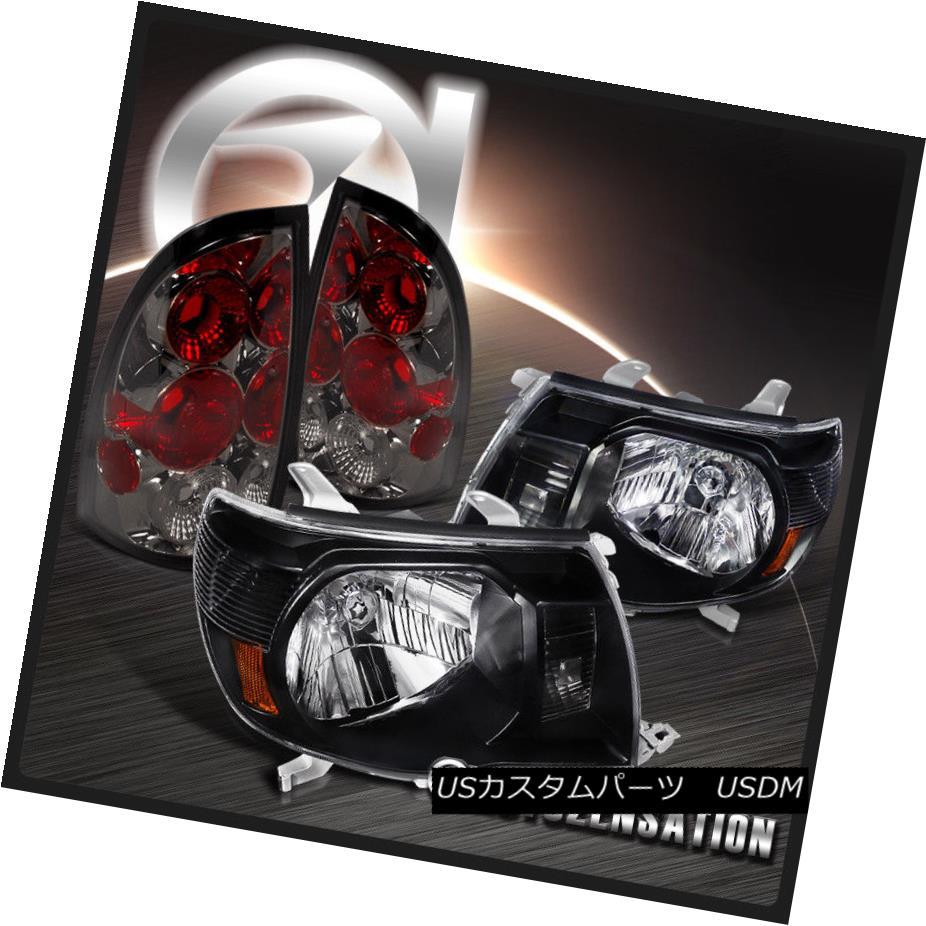 テールライト For 05-08 Toyota Tacoma JDM Crystal Black Headlights+Smoke Tail Brake Lamps 05-08トヨタタコマJDMクリスタルブラックヘッドライト+スモーク keテールブレーキランプ