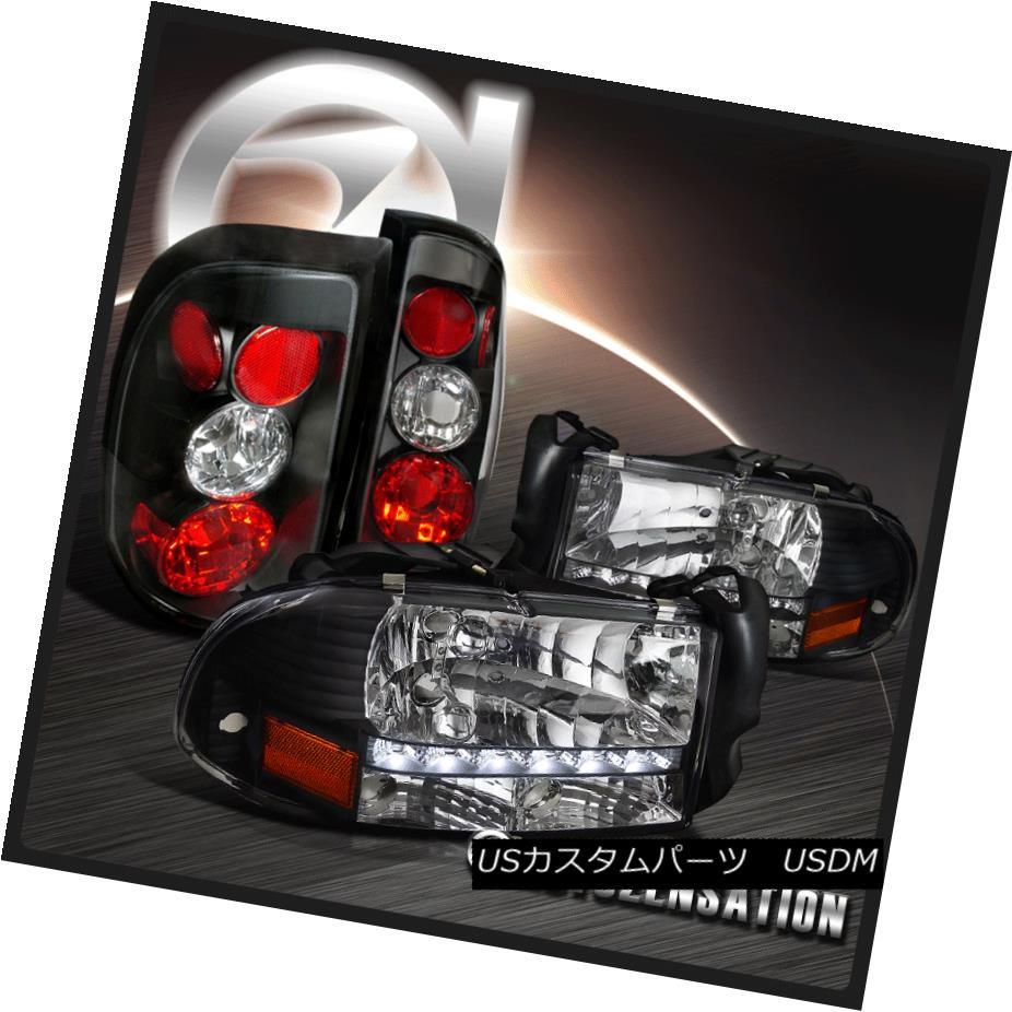 テールライト 97-04 Dodge Dakota Crystal Black SMD LED DRL Headlights+Rear Tail Brake Lamps 97-04 Dodge DakotaクリスタルブラックSMD LED DRLヘッドライト+リア rテールブレーキランプ