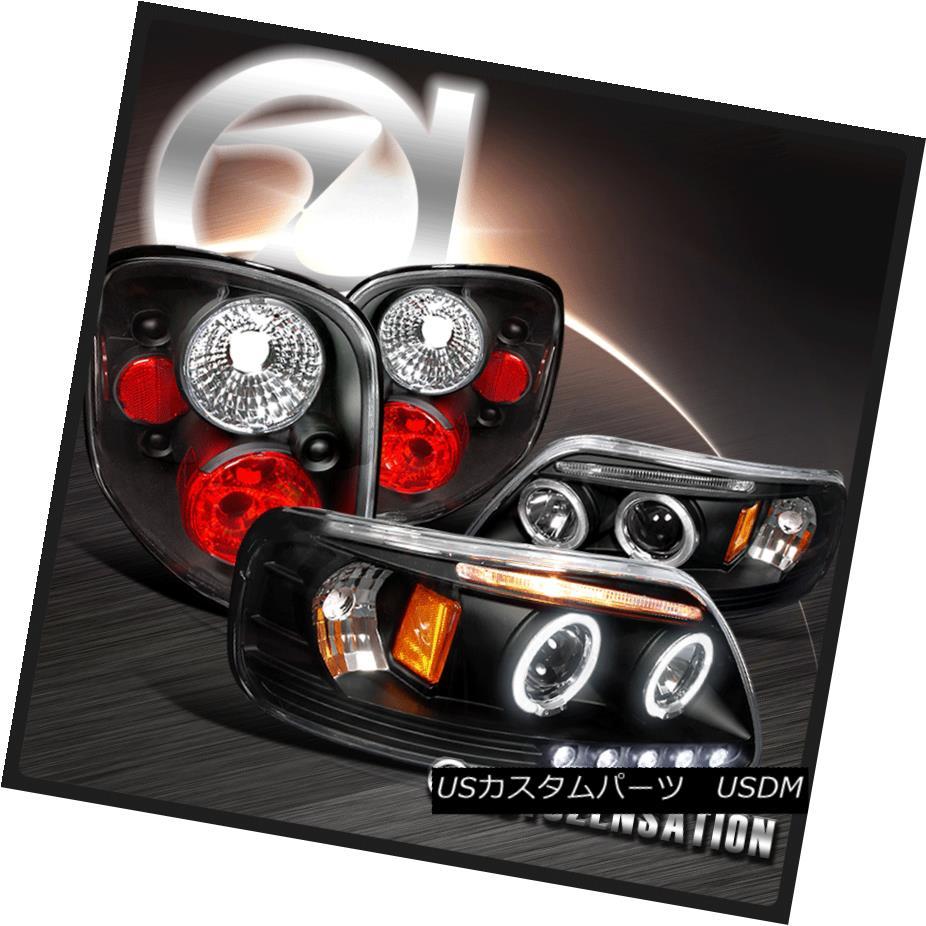 テールライト 97-00 F-150 Black Dual Halo Projector Headlights+Rear Altezza Tail Lamps 97-00 F-150ブラックデュアル・ハロー・プロジェクター・ヘッドライト+リア Altezzaテールランプ