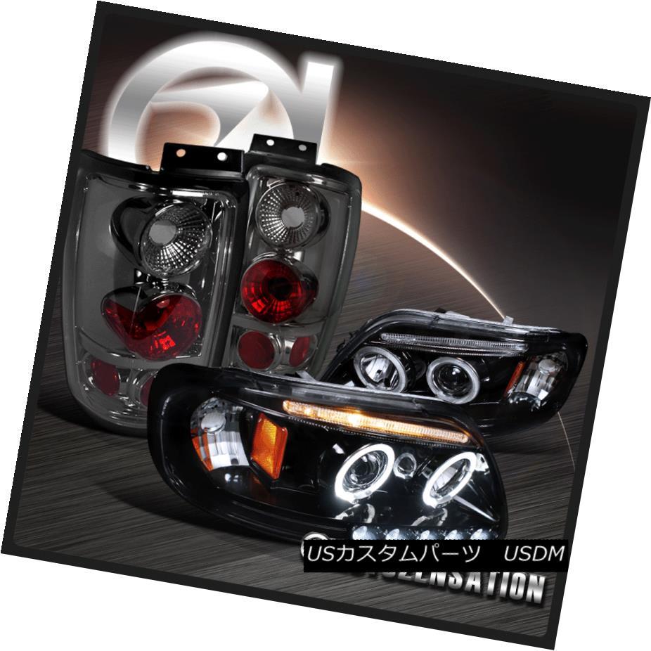 テールライト 97-02 Expedition Glossy Black LED Halo Projector Headlights+Smoke Tail Lamps 97-02探検光沢ブラックLEDハロープロジェクターヘッドライト+スモーキー keテールランプ