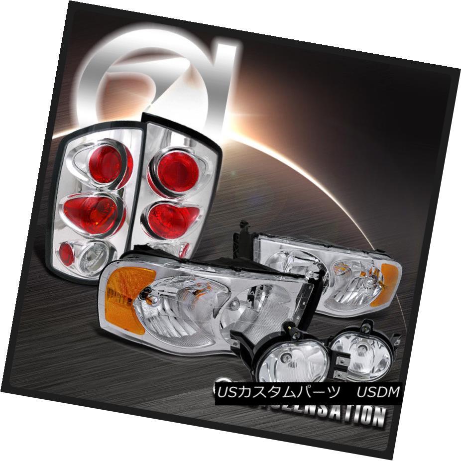 テールライト 02-05 Dodge Ram Chrome Crystal Headlights+Clear Fog DRL+Tail Lamps 02-05 Dodge Ramクロームクリスタルヘッドライト+ Cle ar Fog DRL +テールランプ