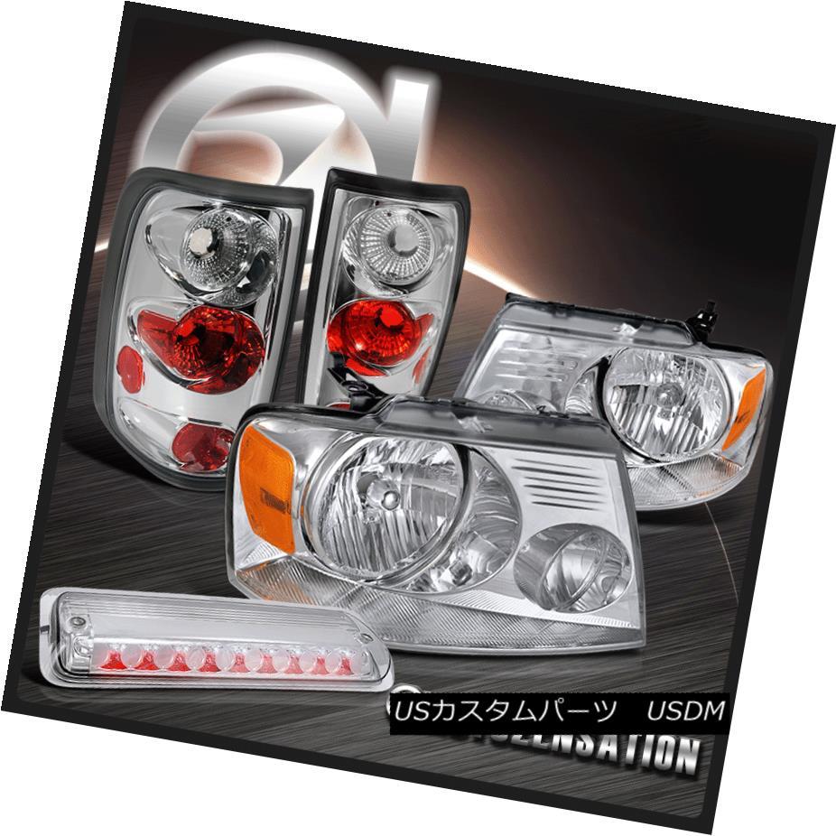 テールライト 04-08 Ford F150 XL XLT Chrome Headlights+Styleside Tail Lamps+3rd Brake Light 04-08 Ford F150 XL XLTクロームヘッドライト+ Sty lesideテールランプ+ 3rdブレーキライト