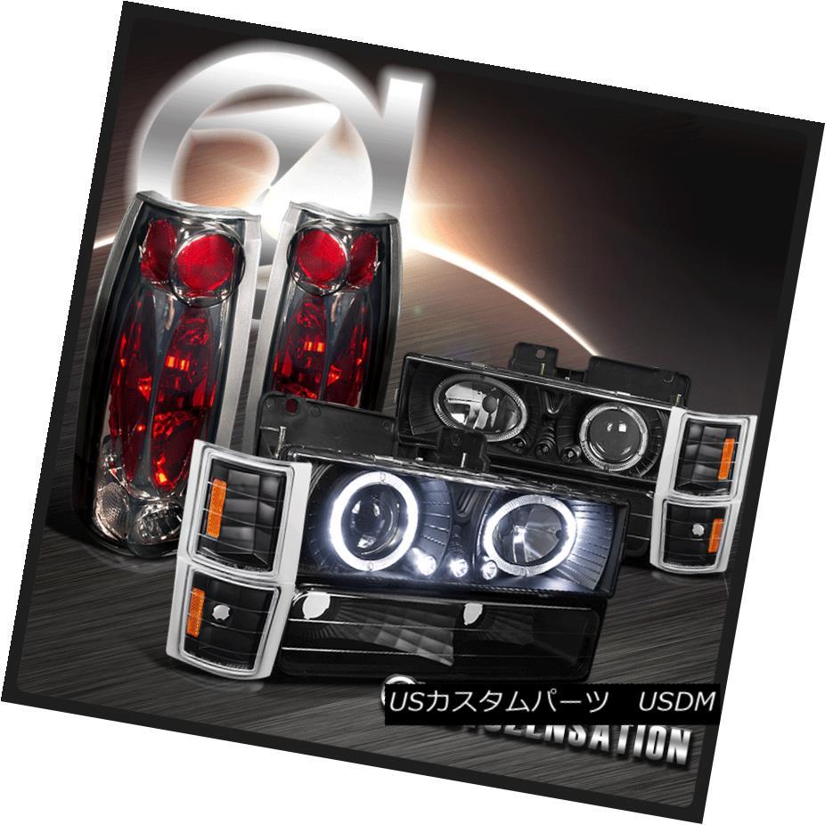 テールライト 94-98 Chevy C10 C/K Tahoe Black Halo LED Projector Headlights+Smoke Tail Lamps 94-98シボレーC10 C / KタホブラックハローLEDプロジェクターヘッドライト+スモーキー keテールランプ