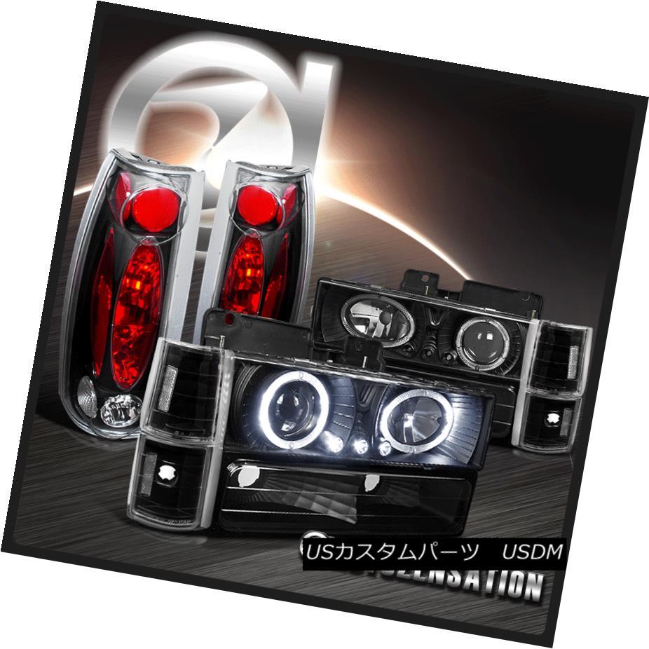 テールライト 94-98 GMC C/K Sierra Yukon Black Halo LED Projector Headlights+Tail Lamps 94-98 GMC C / K Sierra YukonブラックハローLEDプロジェクターヘッドライト+タイ lランプ