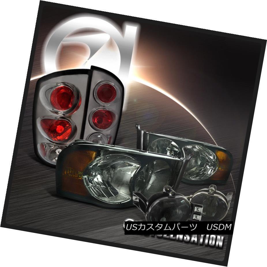 テールライト 02-05 Dodge Ram Smoke Crystal Headlights+Tinted Fog DRL+Tail Lamps 02-05ダッジラムスモーククリスタルヘッドライト+スノーテッドフォグDRL +テールランプ
