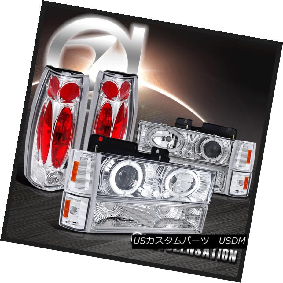 テールライト 94-98 GMC C10 C/K Sierra Yukon Chrome Halo LED Projector Headlights+Tail Lamps 94-98 GMC C10 C / KシエラユーコンクロームハローLEDプロジェクターヘッドライト+タイ lランプ