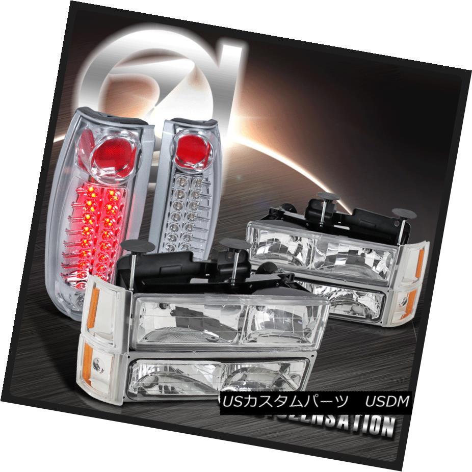 テールライト 94-98 GMC C10 1500 Chrome CLear Headlights+Bumper Corner Lamps+LED Tail Lights 94-98 GMC C10 1500クロームヘッドライト+コーナーランプ+ブール + LEDテールライト