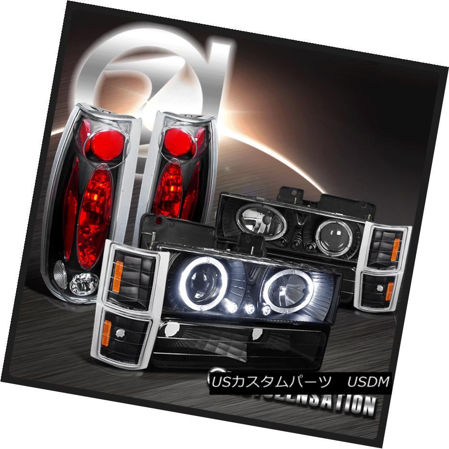 テールライト 94-98 Chevy C10 C/K Tahoe Black Halo LED Projector Headlights+Tail Lamps 94-98シボレーC10 C / KタホブラックハローLEDプロジェクターヘッドライト+タイ lランプ