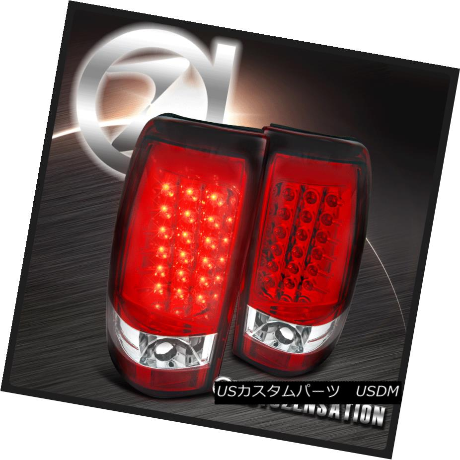 テールライト 04-06 Silverado Sierra 1500 2500 Hybrid Red Clear LED Tail Brake Lights 04-06 Silverado Sierra 1500 2500ハイブリッド赤クリアLEDテールブレーキライト