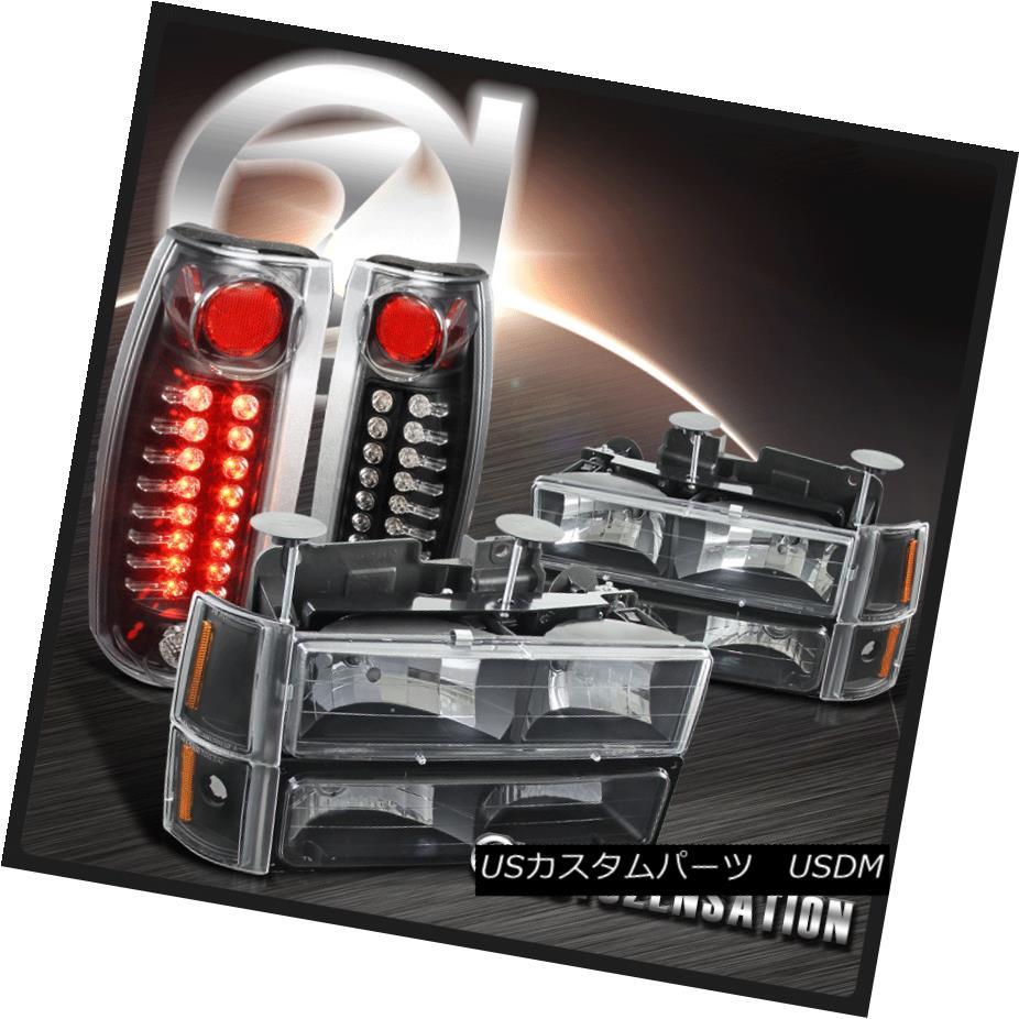 テールライト 94-98 GMC C10 1500 Black Clear Headlights+Bumper Corner Lamps+LED Tail Lights 94-98 GMC C10 1500ブラッククリアヘッドライト+ Bum /コーナーランプ+ LEDテールライト